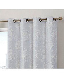 Obscura Newcastle Damask Flocked 100% Blackout Grommet Curtain Panels - Set of 2