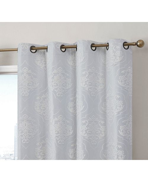 HLC.me Obscura Newcastle Damask Flocked 100% Blackout Grommet Curtain Panels - Set of 2