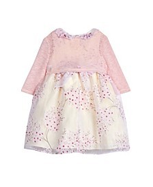 Baby Girls London Floral Organza Print Dress with Shrug