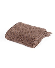 Knit Zig Zag Textured Woven Micro Chenille Throw, Extra Large