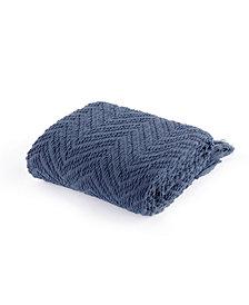 Battilo Knit Zig Zag Textured Woven Micro Chenille Throw, Extra Large
