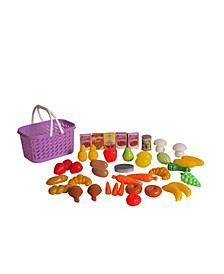 Pretend Play Food Basket - 40 Pieces