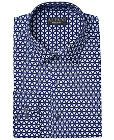 Men's Classic/Regular Fit Performance Stretch Embossed Pyramid Print Dress Shirt, Created for Macy's