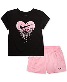 Toddler Girls 2-Pc. T-Shirt & French Terry Shorts Set