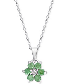 "Emerald (5/8 ct. t.w.) & Diamond Accent 18"" Pendant Necklace in Sterling Silver"