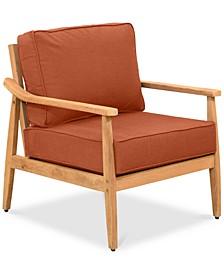 Savona Teak Outdoor Club Chair: with Custom Sunbrella® Cushions