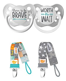 Dream Collection Born Brave and Worth Wait Pacifiers with Stardust and Block Letters Pacifier Clip Bundle