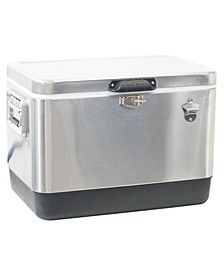 Rio Gear Stainless Steel Cooler with Bottle Cap Opener- 54 Quart