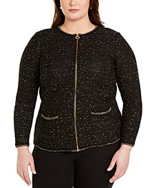 Plus Size Metallic Zip-Front Cardigan Sweater