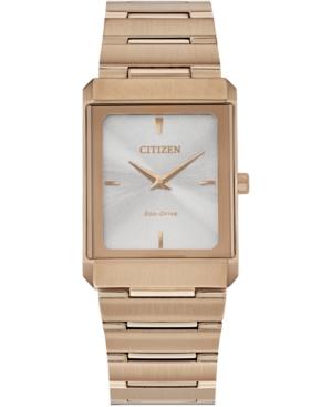 Eco-Drive Unisex Stiletto Rose Gold-Tone Stainless Steel Bracelet Watch 25x35mm