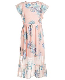 Big Girls Plus Size Belted Floral Maxi Dress