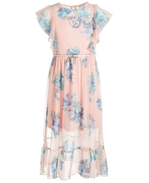 Beautees Big Girls Belted Floral Maxi Dress
