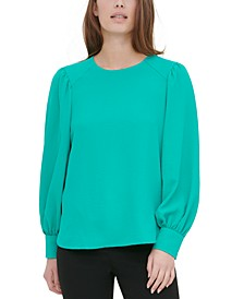 Textured Button-Cuff Blouse