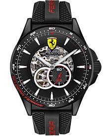 Men's Automatic Chronograph Pilota Black Silicone Strap Watch 45mm