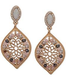 Gold-Tone Crystal & Bead Filigree Drop Earrings