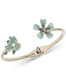 Gold-Tone Pavé Flower Cuff Bracelet