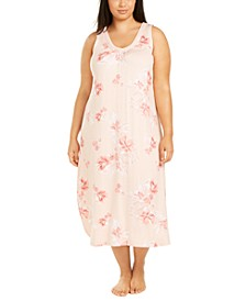 Plus Size Sleeveless Floral-Print Nightgown, Created for Macy's