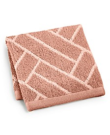"Block Geo Cotton 13"" x 13"" Wash Towel, Created for Macy's"