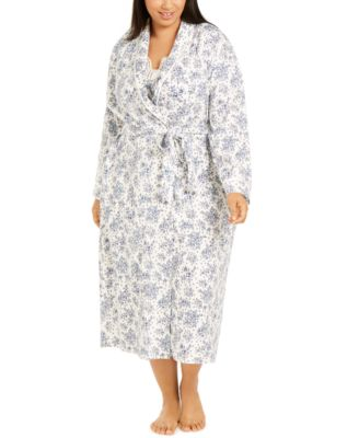 Plus Size Cotton Floral-Print Long Wrap Robe, Created for Macy's