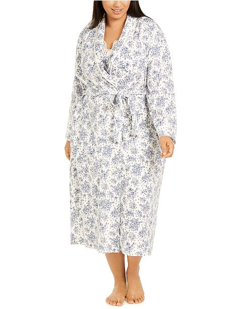 Charter Club Plus Size Cotton Floral-Print Long Wrap Robe, Created For Macy's