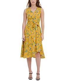 Printed Ruffed Tie-Front Sleeveless Dress