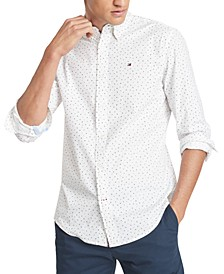 Men's Letter Print Stretch Shirt