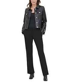 Faux Leather Button-Front Jacket