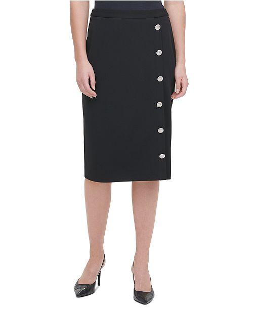 Calvin Klein Button-Trim Pencil Skirt