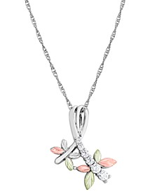 "Cubic Zirconia Dragonfly Pendant 18"" Necklace in Sterling Silver with 12K Rose and Green Gold"
