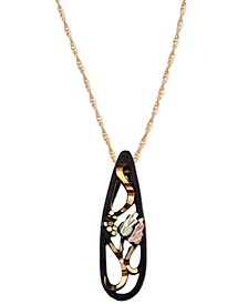"""Black Powder Coated Brass Pendant 18"""" Necklace with 12k Rose and Green Gold"""