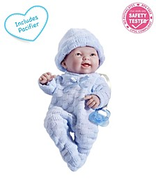 """Mini La Newborn All Vinyl Smiling Realistic 9.5"""" Anatomically Correct Real Boy Baby Doll Dressed in for Children 2 Years and Older, Designed by Berenguer"""