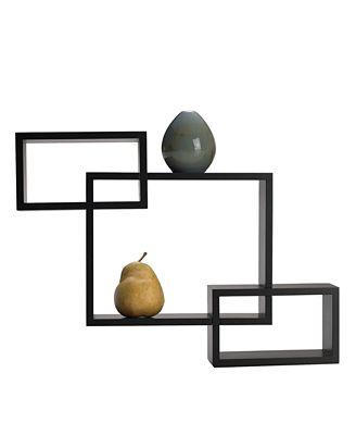 Melannco Home Decor Espresso Overlapping Cube Wall Shelves