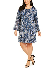 Plus Size Paisley Bell-Sleeve Dress