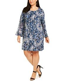 Plus Size Paisley Bell-Sleeve Dress