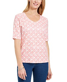 Petite Printed V-Neck Top, Created For Macy's