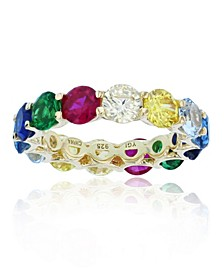 Rainbow Colored Cubic Zirconias Eternity Band in 14k Yellow Gold Plated Plated Sterling Silver