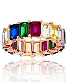 Rainbow Colored Cubic Zirconia Eternity Band in 14k Rose Gold Plated Sterling Silver