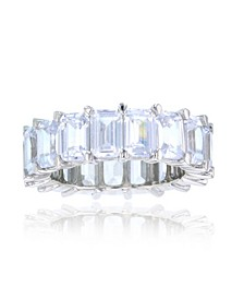 White Cubic Zirconia Eternity Band in Rhodium Plated Sterling Silver