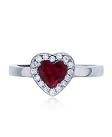 Heart Red and White Round Cubic Zirconia Halo Ring in Rhodium Plated Sterling Silver