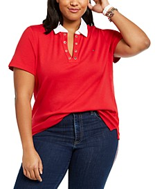 Plus Size Cotton Grommet-Trim Polo Shirt