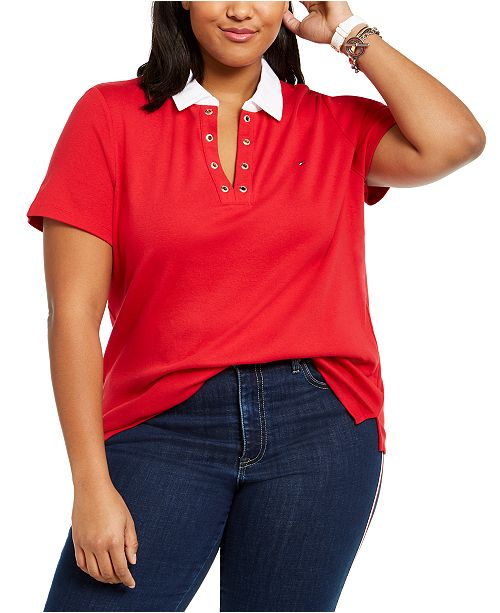 Tommy Hilfiger Plus Size Cotton Grommet-Trim Polo Shirt