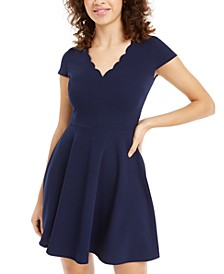 Juniors' Scalloped A-Line Dress