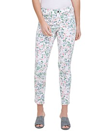 Floral-Printed Polished Mid-Rise Pants
