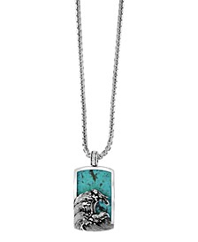 "EFFY® Men's Turquoise (10 ct. t.w.) Wave Pendant 22"" Necklace in Sterling Silver"