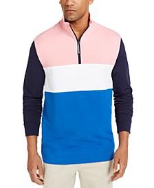 Men's Regular-Fit Colorblocked 1/4-Zip Sweatshirt, Created for Macy's
