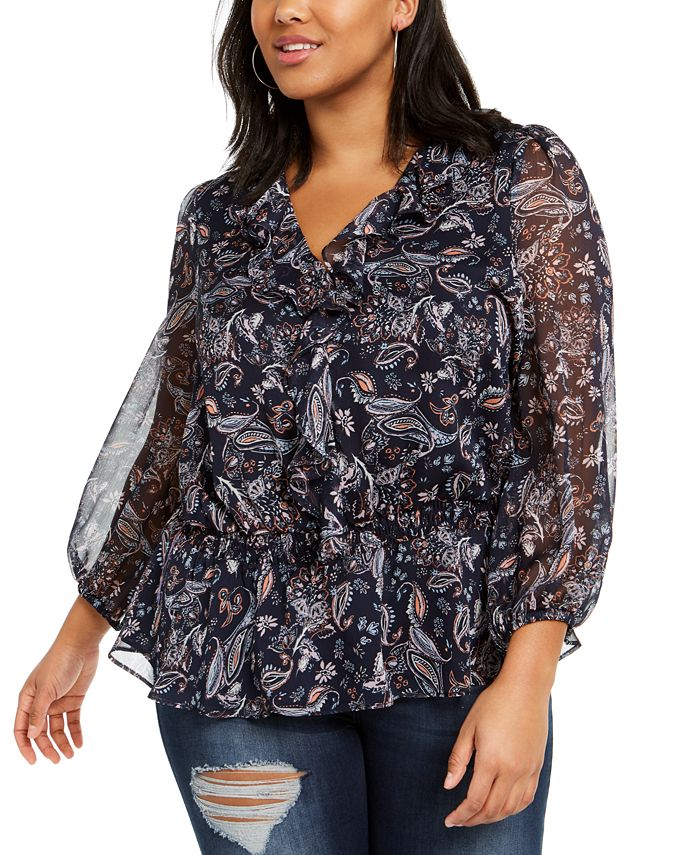 1.STATE - Trendy Plus Size Lyrical Paisley-Print Ruffled Top