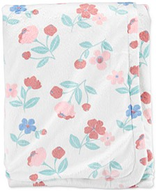 Baby Girls Plush Floral-Print Blanket