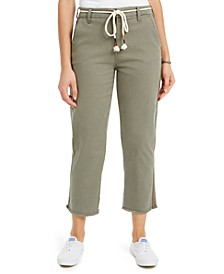 Juniors' Rope-Belt Cropped Jeans
