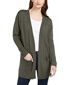 Petite Open-Front Drop-Shoulder Cardigan, Created for Macy's