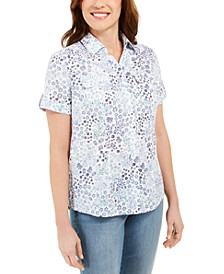 Petite Cotton Printed Clip-Dot Shirt, Created for Macy's